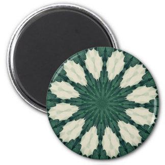Tropical Sacramento Green and Silver Leaf Mandala. Magnet