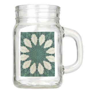 Tropical Sacramento Green and Silver Leaf Mandala. Mason Jar