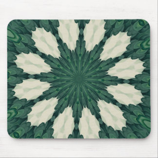 Tropical Sacramento Green and Silver Leaf Mandala. Mouse Pad