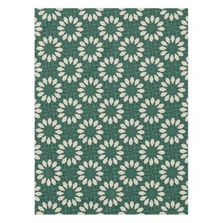 Tropical Sacramento Green and Silver Leaf Mandala. Tablecloth