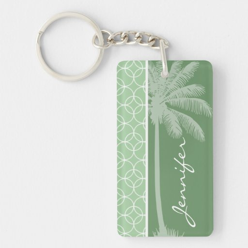 Tropical Sage Green Circles Rectangular Acrylic Keychain