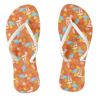 Tropical Sailboat Pattern Flip Flops