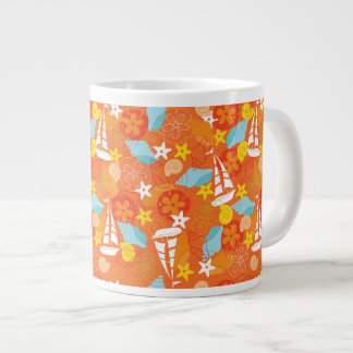 Tropical Sailboat Pattern Large Coffee Mug