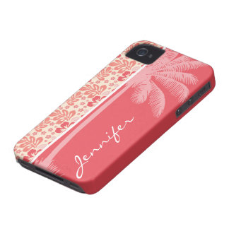 Tropical Salmon & Coral Pink Floral Pattern Case-Mate iPhone 4 Cases