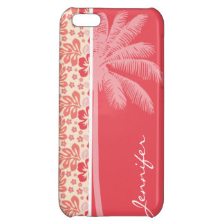 Tropical Salmon Coral Pink Floral Pattern iPhone 5C Cases