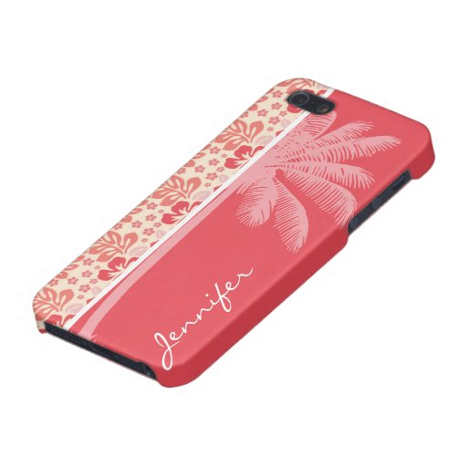 Tropical Salmon & Coral Pink Floral Pattern Cover For iPhone 5