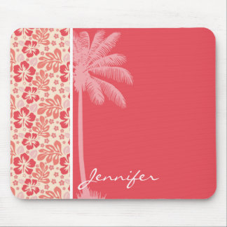 Tropical Salmon & Coral Pink Floral Pattern Mousepads