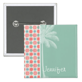 Tropical Salmon, Coral Pink, & Seafoam Pinback Buttons