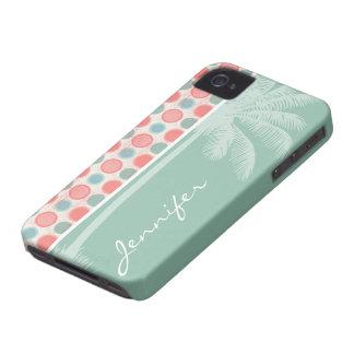 Tropical Salmon Coral Pink Seafoam iPhone 4 Case-Mate Case