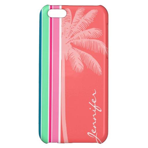 Tropical Salmon Pink & Seafoam Green iPhone 5C Covers