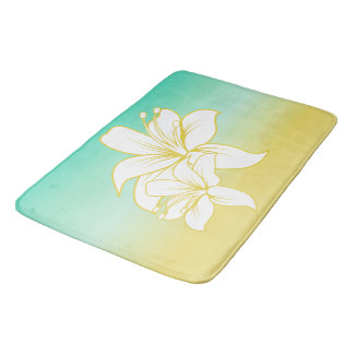 Tropical Sand and Sea with Hibiscus Flower Bath Mat