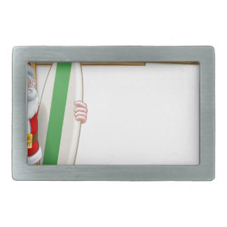 Tropical Santa Beach Background Rectangular Belt Buckles