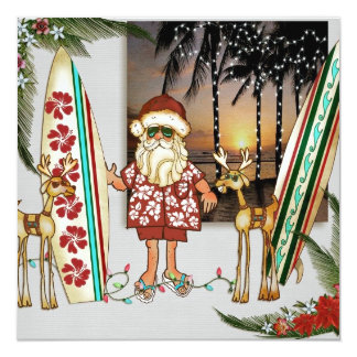 Tropical Santa Christmas Party Invitation
