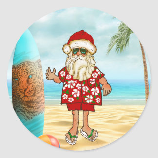 Tropical Santa Christmas Sticker