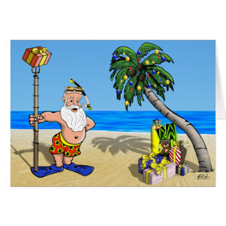 Tropical Santa Greeting Card