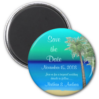 Tropical Save the Date 2 Inch Round Magnet