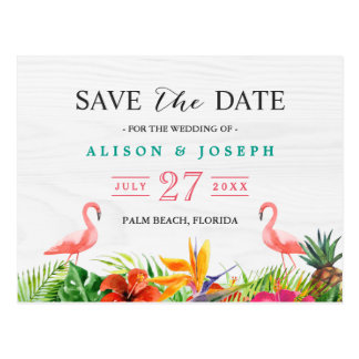 Tropical Save The Date | Hibiscus Floral Flamingo Postcard