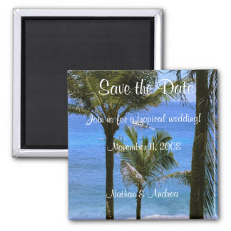 Tropical Save the Date Square Magnet