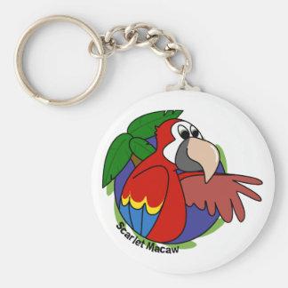 Tropical Scarlet Macaw Keychain