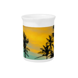 Tropical Scene at Sunset Time Beverage Pitcher