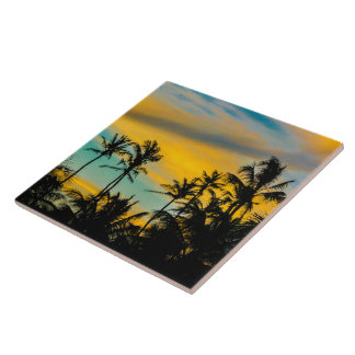 Tropical Scene at Sunset Time Ceramic Tiles