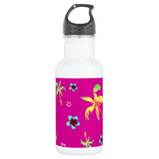 Tropical scene coconuts and frangipanis 532 ml water bottle