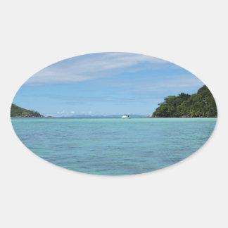 tropical sea oval sticker