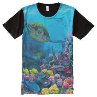 Tropical Sea Turtle Reef All Over T Shirt