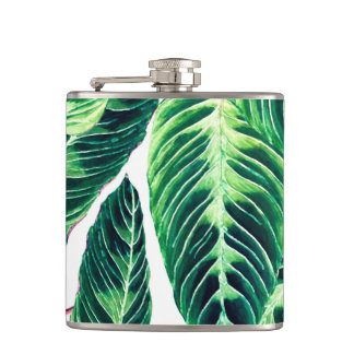 Tropical Seamless leaf pattern Hip Flask