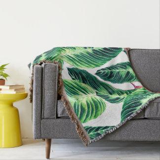 Tropical Seamless leaf pattern Throw Blanket