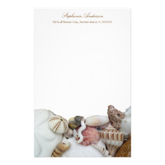 Tropical Seashell Border Personal Writing Paper Stationery Paper