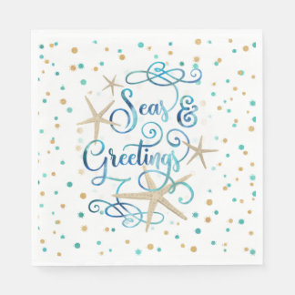 "Tropical ""SEAson's Greetings"" Dots Party Paper Napkin"