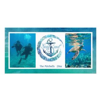 "Tropical ""SEAson's Greetings"" Ocean Wave - 2 Pics Card"