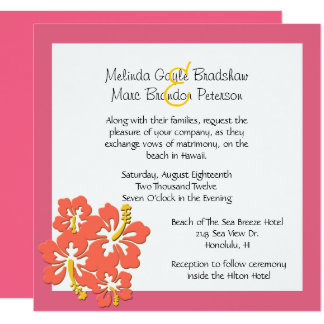 Tropical Sherbert Hibiscus Wedding Invitation