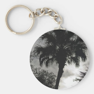 Tropical Silhouette Basic Round Button Keychain
