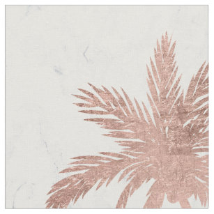 Tropical simple rose gold palm trees white marble. fabric