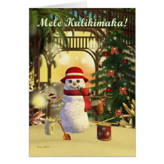 Tropical Snowman Mele Kalikimaka Hawaiian Card
