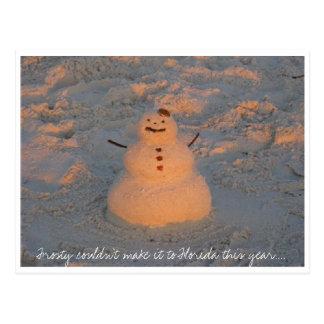 Tropical Snowman Postcard