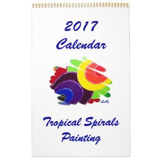Tropical Spirals Art 2017 Calendar Single Page