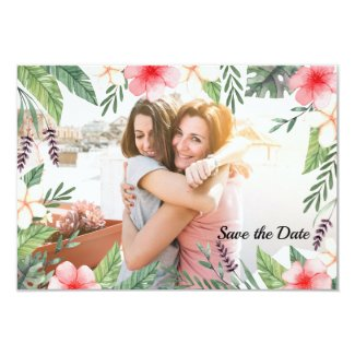 Tropical Splendour Photo Save the Date Card
