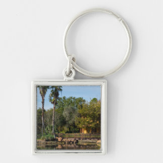 Tropical Springs Paradise Silver-Colored Square Keychain