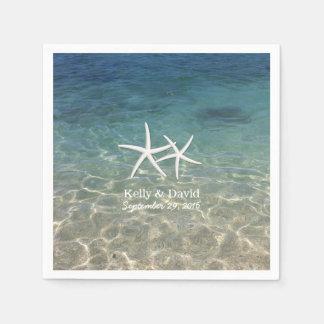 Tropical Starfish Custom Name Beach Wedding Disposable Napkin