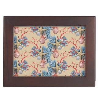 Tropical Starfish Shells Coral Blue Tan Copper Memory Box