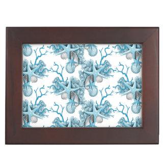 Tropical Starfish Shells Coral Blue White box Memory Box