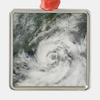 Tropical Storm Kammuri Silver-Colored Square Ornament