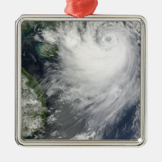 Tropical Storm Koppu nearing landfall Silver-Colored Square Ornament