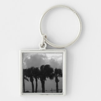 Tropical Stormy Skies Grayscale Silver-Colored Square Keychain