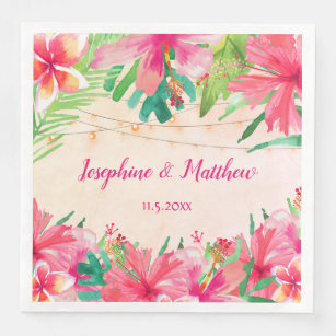 Tropical String Lights Floral Watercolor Wedding Paper Dinner Napkin