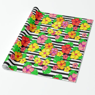 Tropical stripes gift wrap modern luxe floral