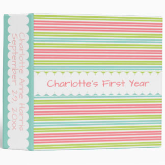Tropical Stripes Personalized Memory Book 3 Ring Binder